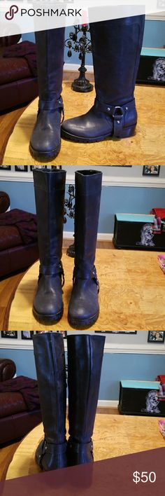 Lucky Brand black leather TALL Moto boots 8.5 Lucky brand black leather tall moto harness ladies boots. Size 8.5. Pre owned that skill and awesome shape. I wore them 5 or 6 times If that. Lucky Brand Shoes Combat & Moto Boots