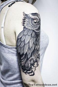 Black Owl Tattoo Idea