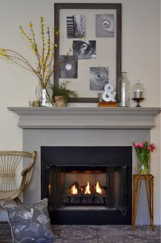 2 Ladies Mantel Style Recently we at 2 Ladies decided to give this mantel a makeover with a fresh coat of paint. Of course after that we h. Bg Design, House Design, Interior Design, Pictures Of Christmas Decorations, Home Goods Decor, Home Decor, Fireplace Mantle, Bird Pillow, Victorian Homes