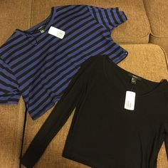 2 NWT forever 21 crop shirts- size Large Blue/black striped crop shirt: short-sleeved, size large                                                                   Black crop shirt: long-sleeved, size large Forever 21 Tops Crop Tops