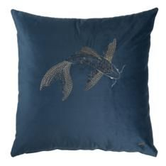 Home linens as finely crafted as his clothes, the Gavin Rajah Prêt á Vivre line brings the craftsmanship of couture to the home. Beautiful fabrics with the Koi, Velvet, Throw Pillows, Navy, Fabric, Beautiful, Hale Navy, Tejido, Toss Pillows