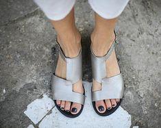 SALE Silver Sandals, Leather Sandals, Handmade Sandals, Silver Summer Shoes, Slingbacks, Summer Flats, Greek Sandals, Asymmetric Sandals, Um