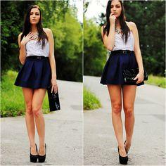 Romwe Blue Pleated Skirt