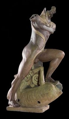 Life-size late 6th cent. terracotta statue of Hercules from the Temple of Apollo at Veii, in the National Etruscan Museum at Villa Giulia.