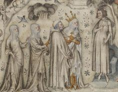 Machaut (at right) receiving Nature and three of her children. From an illuminated Parisian manuscript of the 1350s