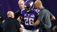 MINNEAPOLIS — Minnesota Vikings running back Adrian Peterson suffered a right knee injury and had to be helped to the locker room in the third quarter of a 17-14 victory over the Green Bay Packers on Sunday. Peterson will get an MRI on the knee Monday morning. Coach Mike Zimmer said he wouldn't k...