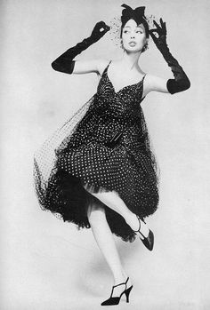 1958 Dolores Hawkins in a short point d'esprit cocktail dress by James Galanos, photo by Richard Avedon