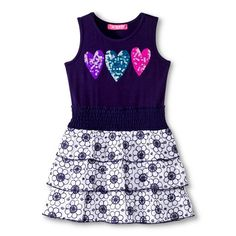 Toddler Girls Sequin Heart Ruffle Dress -  Catalina Blue