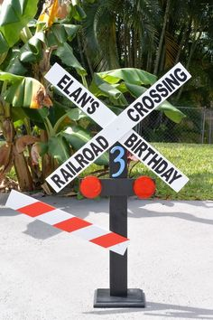 Personalized birthday Railroad Crossing Sign/Photo Prop/Entryway Sign/Centerpiec