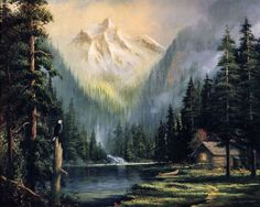 (usa) Keeper of the Valley by Thomas Kinkade (1958- 2012). The painter of Light.