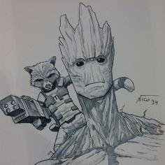 Rocket and Groot by nselma.deviantart.com on @deviantART