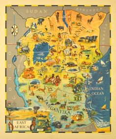 East Africa Kenya Uganda Tanganyika, 1961 - original vintage poster by John McKenzie listed on AntikBar.co.uk