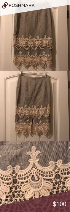 ❤️ Beautiful Lace Trimmed Skirt ❤️ ❤️ Beautiful Lace Trimmed Skirt ❤️ Has a flattering split in the back. Zipper in middle on back. Dance and Marvel Skirts