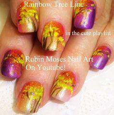 Easy Fall Nail Art - DIY Rainbow Tree Design Tutorial (ReUPLOAD)