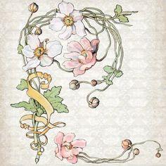 Vintage Art Nouveau Watercolor Anemone Clipart Set: Commercial Use - Image No. SP3