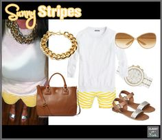 Yellow stripe shorts & gold accessories