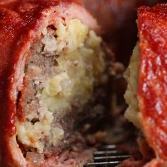 Bacon-wrapped Mashed Potato-stuffed Meatloaf Recipe by Tasty Bacon Recipes, Casserole Recipes, Crockpot Recipes, Cooking Recipes, Cooking Ideas, Hamburger Recipes, Cooking Food, Tasty Videos, Food Videos