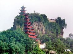Chinese temple on the cliff side.