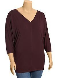 Women's Plus Jersey V-Neck Tunics