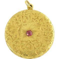 Large Antique Victorian 14k Gold Ruby Floral Locket Pendant