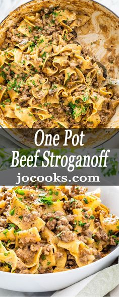 One Pot Beef Stroganoff is a simple weeknight meal. With mushrooms and beef in a creamy rich sauce with egg noodles, this dreamy dish is packed full of flavor and yumminess. meat recipes easy dinner ideas weeknight meals One Pot Beef Stroganoff One Pot Dinners, Easy One Pot Meals, Easy Dinner Recipes, Pasta Recipes, Cooking Recipes, One Pot Recipes, Simple Meals For Dinner, Healthy One Pot Meals, Entree Recipes