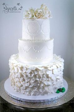 White Lace elegant Wedding - by Sucrette, Tailored Confections @ CakesDecor.com - cake decorating website