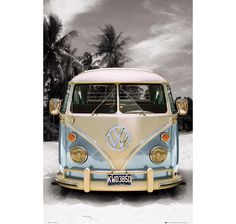 Mini poster featuring a retro VW Camper Van on a californian beach. Volkswagen Bus, Vw Camper, Volkswagen Transporter, Vw T1, Volkswagen Beetles, Bugatti, Vw California T6, California Beach, Wolkswagen Van