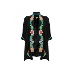 Temperley London Short Carmelina Kimono ($1,825) ❤ liked on Polyvore featuring outerwear, jackets, black mix, short sleeve kimono, floral print kimono, flower print jacket, silk jacket and short kimono