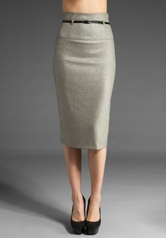 High Waisted Grey Pencil Skirt