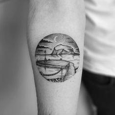 Dotwork Landscape Tattoo by Tom Tom