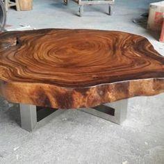 Wood Slab Table, Wood Table Design, Table Designs, Live Edge Furniture, Log Furniture, Business Furniture, Outdoor Furniture, Cool Tables, Live Edge Wood