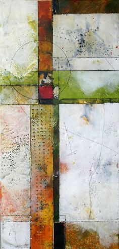 Brad Hook Encaustic Mixed Media Residual Feelings 15x29 enc