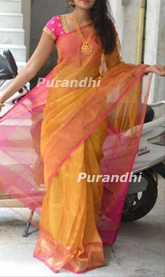 Uppada Tissue Pattu saree comes with contrast pallu, Border and blouse. Blouse work as in image available with additional cost. Cotton Saree Designs, Wedding Saree Blouse Designs, Pattu Saree Blouse Designs, Fancy Blouse Designs, Silk Cotton Sarees, Wedding Sarees, Trendy Sarees, Stylish Sarees, Silk Sarees With Price