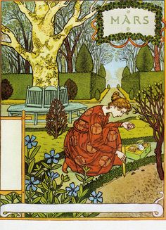 """""""March"""" by Eugene Grasset (1845-1917).  Swiss decorative artist who worked in Paris, France in a variety of creative design fields during the Belle Époque. He is considered a pioneer in Art Nouveau design."""