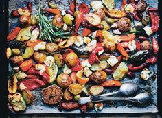 This sort of one-pan meal allows us to spend more time with each other and still have a delicious and wholesome meal on the table in time for dinner (and little to wash up). This is one of our (and our kids') favourite versions, with mixed vegetables, Mediterranean flavours and squeaky haloumi chunks. Serve with a simple green salad on the side.