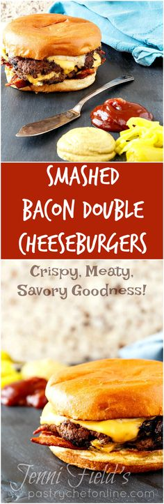 """Smashed Bacon Double Cheeseburgers are soon to become your new favorite burger. With loads of melty cheese, crisp-chewy bacon, caramelized onions, and a """"secret sauce,"""" you won't be able to get enough! 