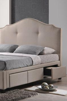 Marsha Linen Bed with Storage Drawer - Queen - Beige by W.I. Modern Furniture on @HauteLook