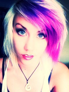 Platinum blonde with purple bangs