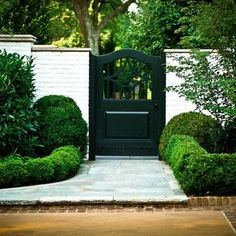gate door entry with white brick wall and boxwood hedge