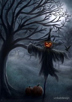 Image Halloween, Halloween Artwork, Halloween Painting, Halloween Drawings, Halloween Prints, Halloween Pictures, Halloween Themes, Halloween Decorations, Scarecrow Drawing