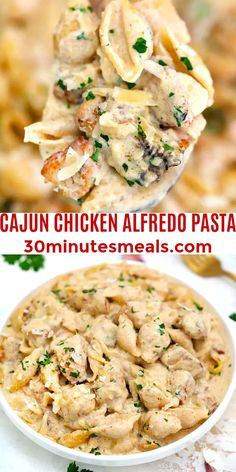 Cajun Chicken Alfredo Pasta is an easy one-pot dish, that is super creamy, cheesy and ready in 30 minutes. #30minutesmeals #dinner #pasta #chicken #alfredopasta
