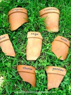 11 Ways to Repurpose a Terracotta Pot use broken pots pieces for plant markers