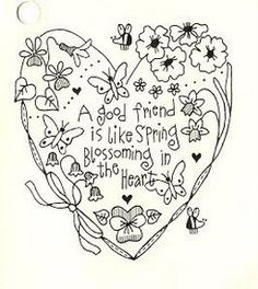 Heart Embroidery Design: A good friend is like spring blossoming in the heart.