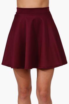 burgundy skater skirt
