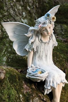 Bring a little magic to your garden with the Darling Forest Fairies - Serene Fairy Statue . Gorgeously detailed, this little statue is hand painted. Fairy Statues, Fairy Figurines, Garden Statues, Garden Sculptures, Pastel Flowers, Yellow Flowers, Pastel Colors, Unique Gardens, Amazing Gardens