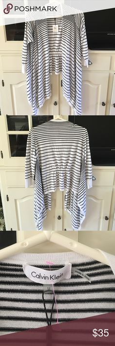 NWT! Calvin Klein 3/4 length cardigan, size Medium Brand new with tags! Calvin Klein 3/4 length sleeve cardigan, size Medium. Black and white stripes. Excellent condition! Calvin Klein Sweaters Cardigans