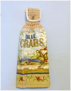 Hanging Kitchen Towel Blue Crabs by DebbieCrochets on Etsy