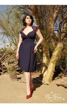 Pinup Couture - Luscious Dress in Navy with Octavio the Octopus | Pinup Girl Clothing