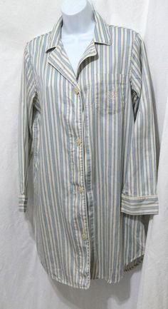 Lauren Ralph Lauren Sleepwear Women's Pajama Shirt Stripe Night Gown Size M #LaurenRalphLauren #Sleepshirt #Everyday