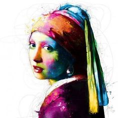 Portrait Drawing Stretched Canvas Print: Vermeer Pop by Patrice Murciano : - Pop Art, Murciano Art, Patrice Murciano, Poster Prints, Art Prints, Arte Pop, Stretched Canvas Prints, Online Art Gallery, Art Girl